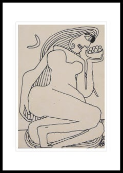 """Reclining Women, Nude Drawing, Ink on paper by Master Indian Artist """"In Stock"""""""