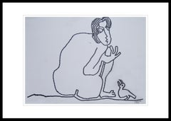 "Man & Bird, Nude Drawing, Ink on paper, Black & White by Indian Artist""In Stock"""