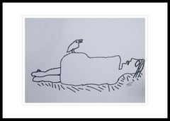 "Reclining Man, Nude, Ink on paper, Black & White by Indian Artist ""In Stock"""