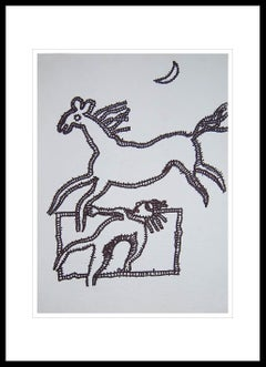"""Running Horse, Animal Drawing, Ink on paper by Master Indian Artist """"In Stock"""""""