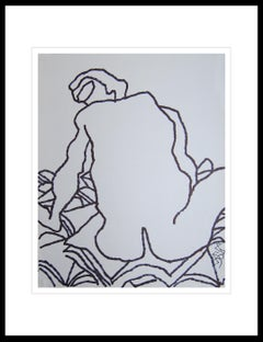 "Nude Drawing, Large Fish shaped Eyes, Ink on paper by Indian Artist ""In Stock"""