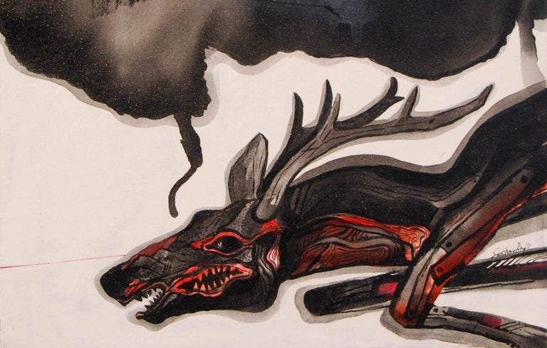Reindeer, Acrylic on canvas, Black White Grey Red; by Indian Artist
