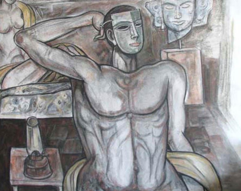 Bijan Choudhury - Untitled - 42 x 48 inches (unframed size) Mixed Media on Canvas Inclusive of shipment in roll form.  Style : The Marxist orientation did not allow Bijan Chowdhury