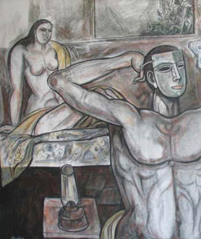 Nude Painting, Mixed Media on canvas, White, Black, Pink, Browncolors