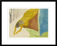 """Nude Woman, Reclining, Water color on Rice paper, Green, Yellow, Blue """"In Stock"""""""