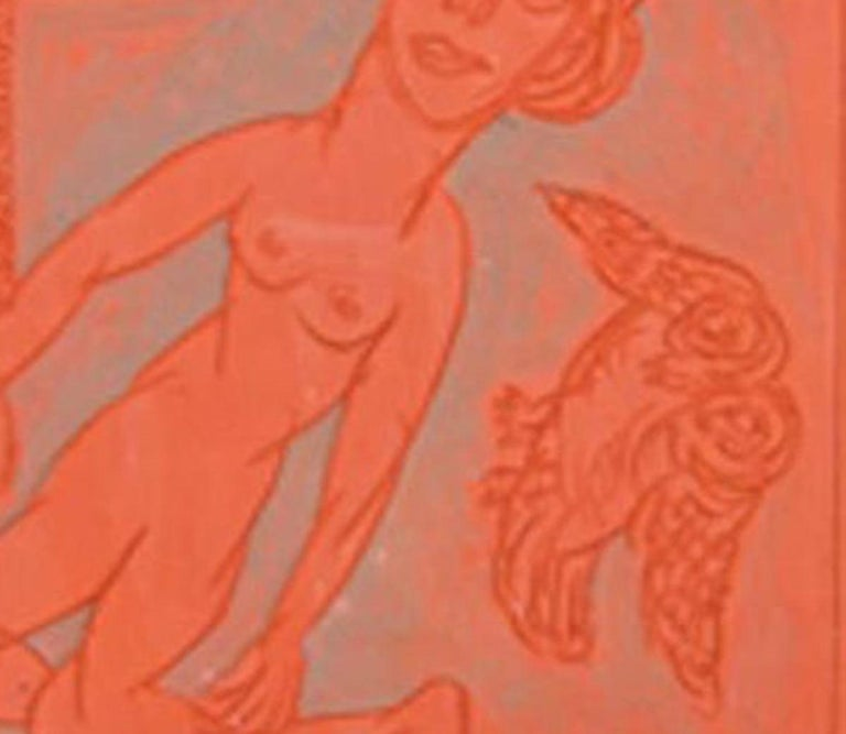 Man & Bird,Terracotta plate by Indian artist