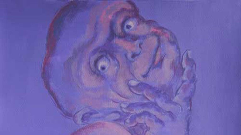 Human Form, Multi Faceted, Acrylic Painting, Blue, Violet, Red colors