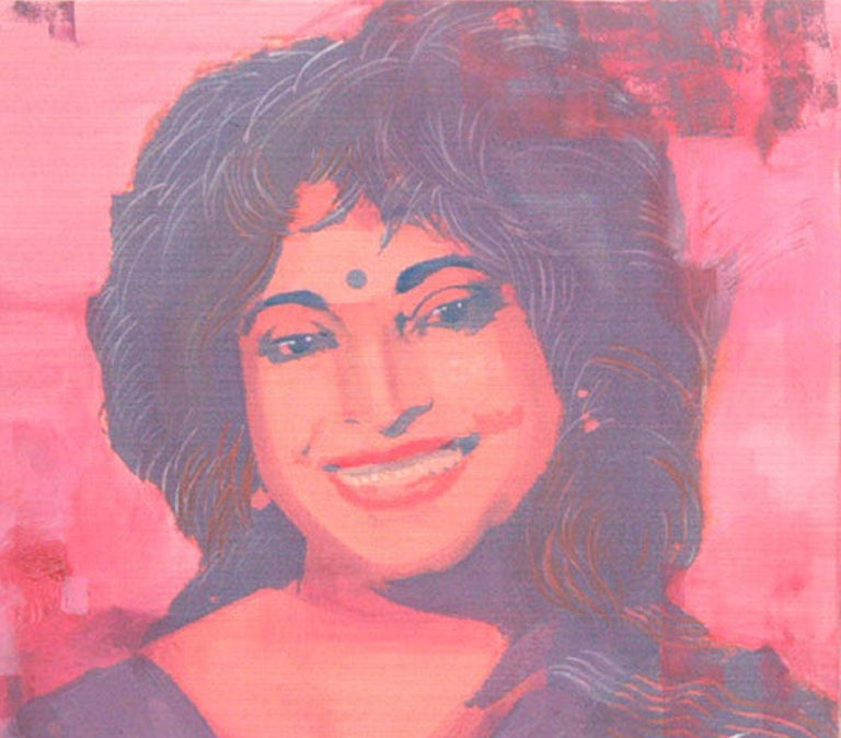 Dipali Bhattacharya - Untitled - 20 x 20 inches (unframed size) Mixed Media on canvas Inclusive of shipment in roll form.  Style : Bhattacharya works in many mediums but finds that she enjoys the flexibility provided by mixed media. Her subjects are