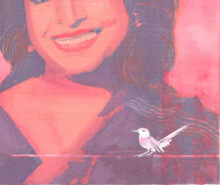 Potrait, Mixed Media Painting, Red, Pink, Black, White Indian Artist