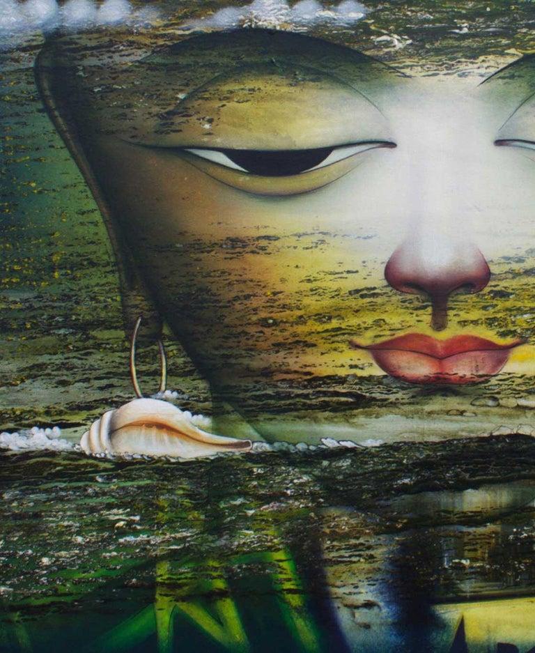 Vishwaroopam, Indian Mythology, Mixed Media, Green, Red, Yellow, Blue