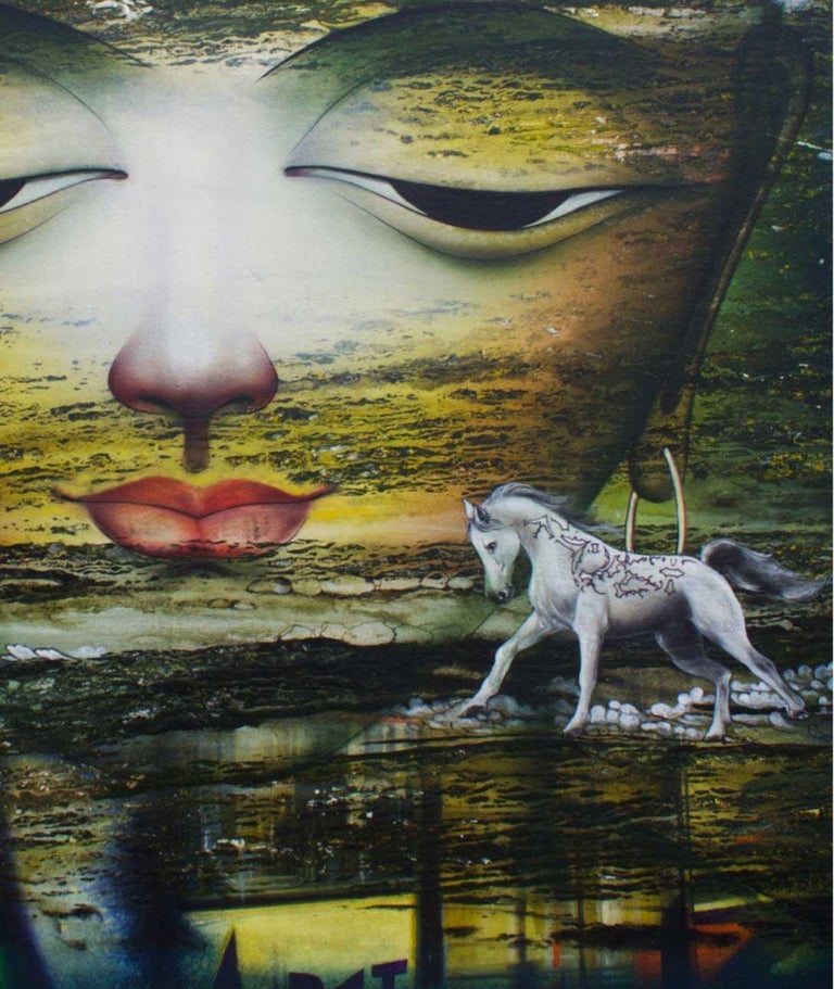Dharmendra Rathore - Vishwaroopam - 33 x 33 inches (unframed size) Mixed Media on canvas Inclusive of shipment in roll form.  Style : Dharmendra loves experimenting with different forms and styles, shifting from figuration to landscapes to