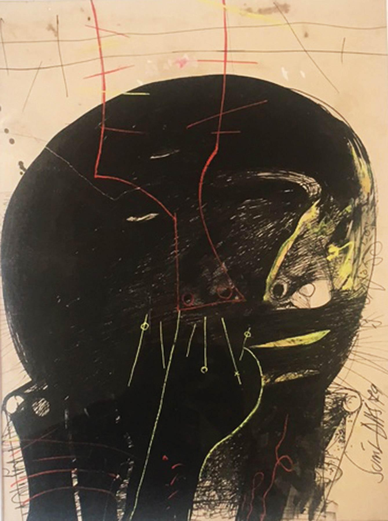 """Solid Black Head, Human Face, Drawing, Ink & Lithograph, Red, Green """"In Stock"""""""