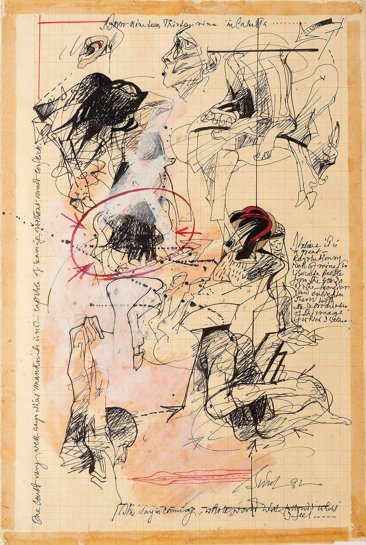 """Human & Animal Limbs, Torsos, Ink, Watercolor, Acrylic on Graph Paper """"In Stock"""""""