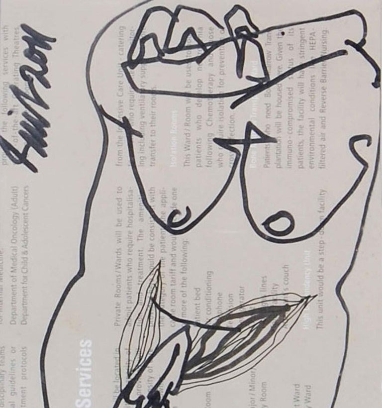 Erotic Series III, Nude Female Drawing, Ink on Magazine Paper
