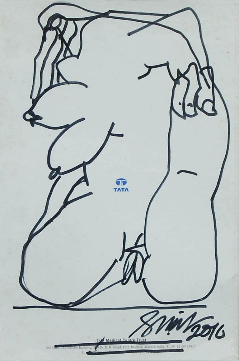 "Erotic Series II, Nude Drawing, Female, Ink on Magazine paper ""In Stock"" - Art by Sunil Das"