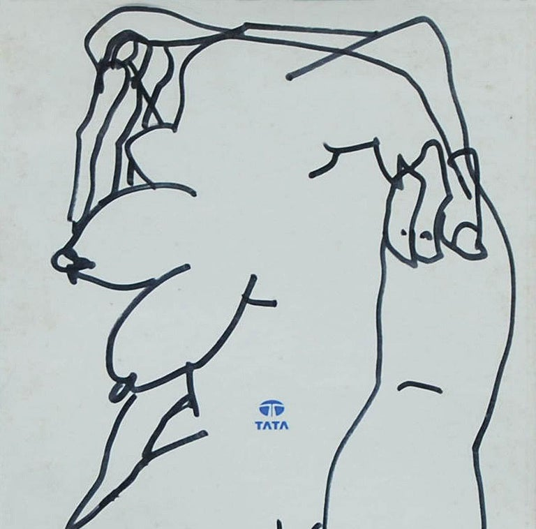 Erotic Series II, Nude Drawing, Female, Ink on Magazine paper