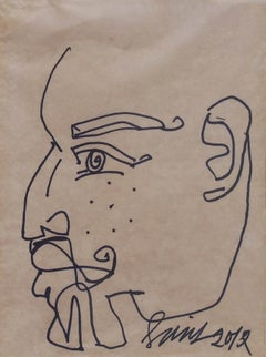 "Face of Bearded Men, Pen and Ink on Paper by Modern Indian Artist ""In Stock"""