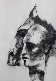 "Man and Horse, Charcoal Drawing, Black, White by Indian Artist ""In Stock"""