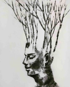 "Being one with Nature IV, Man & Environment, Charcoal, Black & White ""In Stock"""