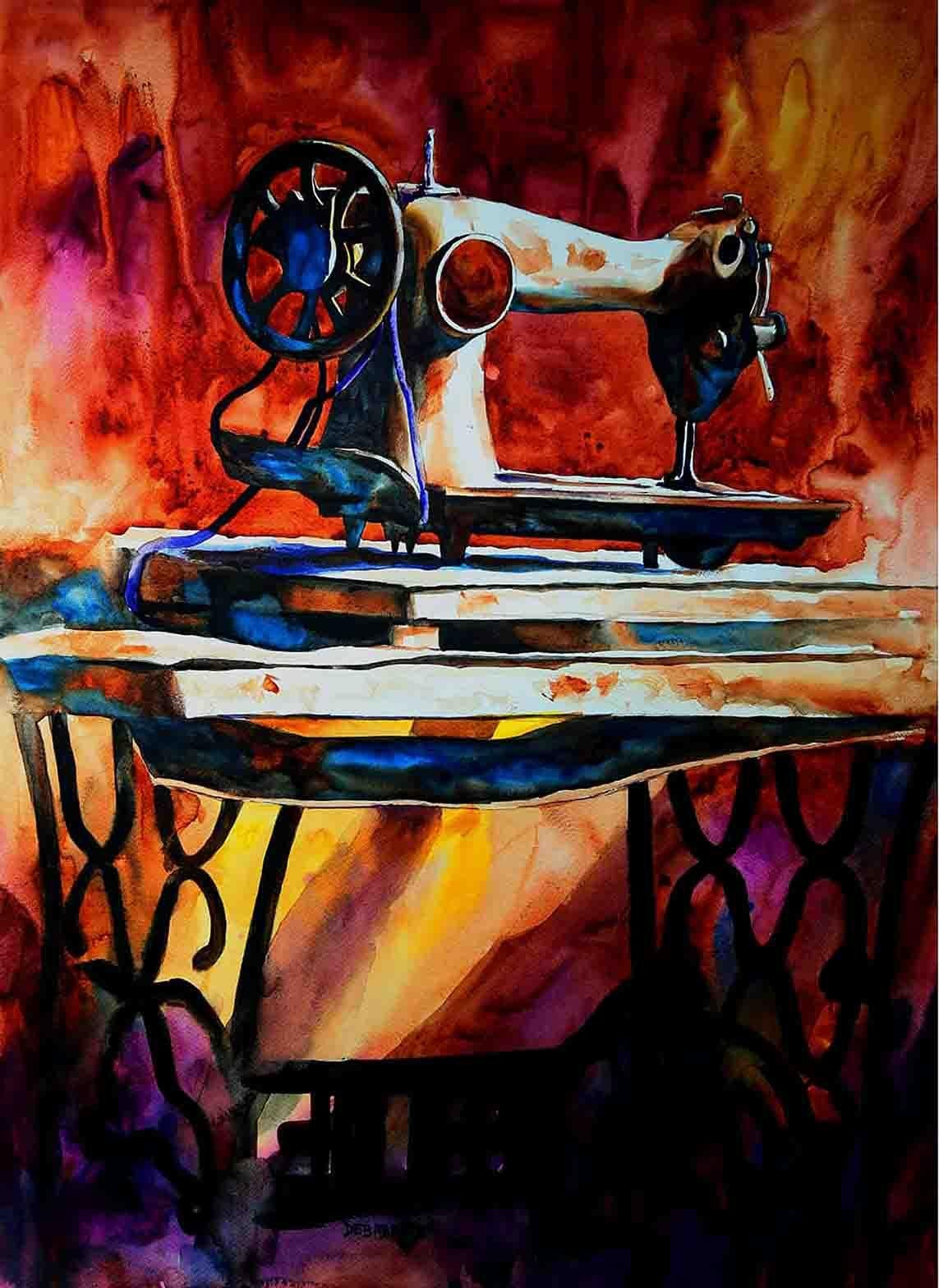 """Sewing Machine, Watercolor on Paper, Red, Yellow by Indian Artist """"In Stock"""""""
