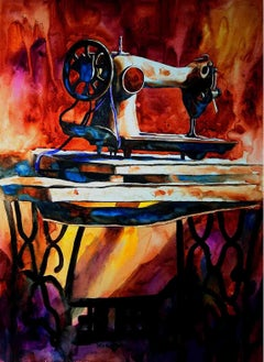 "Sewing Machine, Watercolor on Paper, Red, Yellow by Indian Artist ""In Stock"""