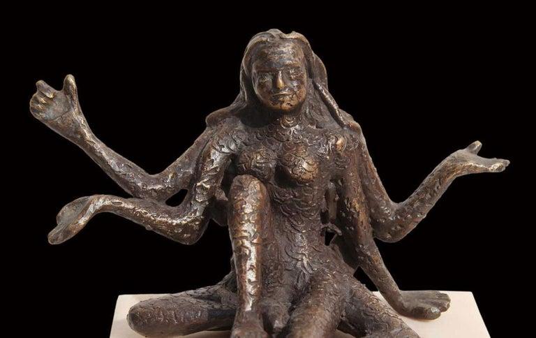 Goddess of Strength & Power, Bronze, Sculpture, Brown by Indian Artist