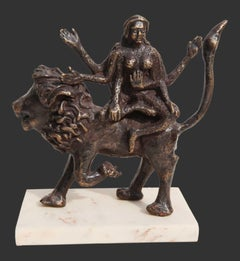 "Shakti, Hindu Goddess, Lion, Mythology, Bronze Sculpture, Brown ""In Stock"""