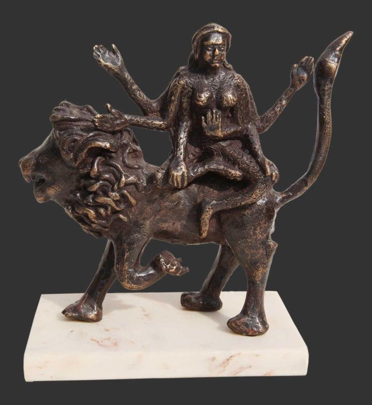 "Seema Kohli Figurative Sculpture - Shakti, Hindu Goddess, Lion, Mythology, Bronze Sculpture, Brown ""In Stock"""