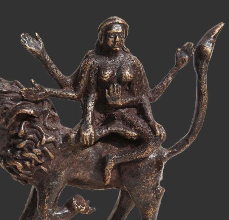 Shakti, Hindu Goddess, Lion, Mythology, Bronze Sculpture, Brown
