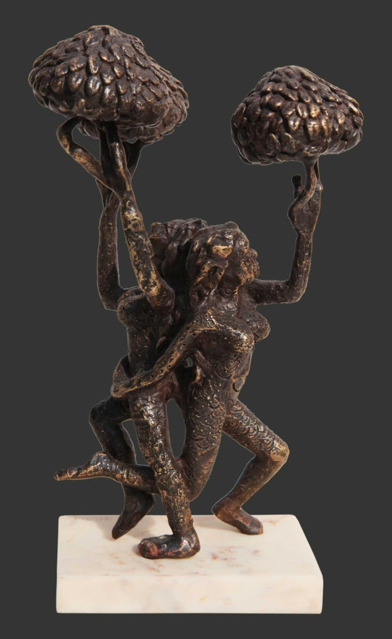 """Seema Kohli Figurative Sculpture - The Tree of Life, Bronze Sculpture, Brown by Indian Artist """"In Stock"""""""