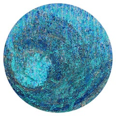 """Jal, Round Painting, Acrylic, Ink on canvas, Gold & Silver leaf, Blue """"In Stock"""""""