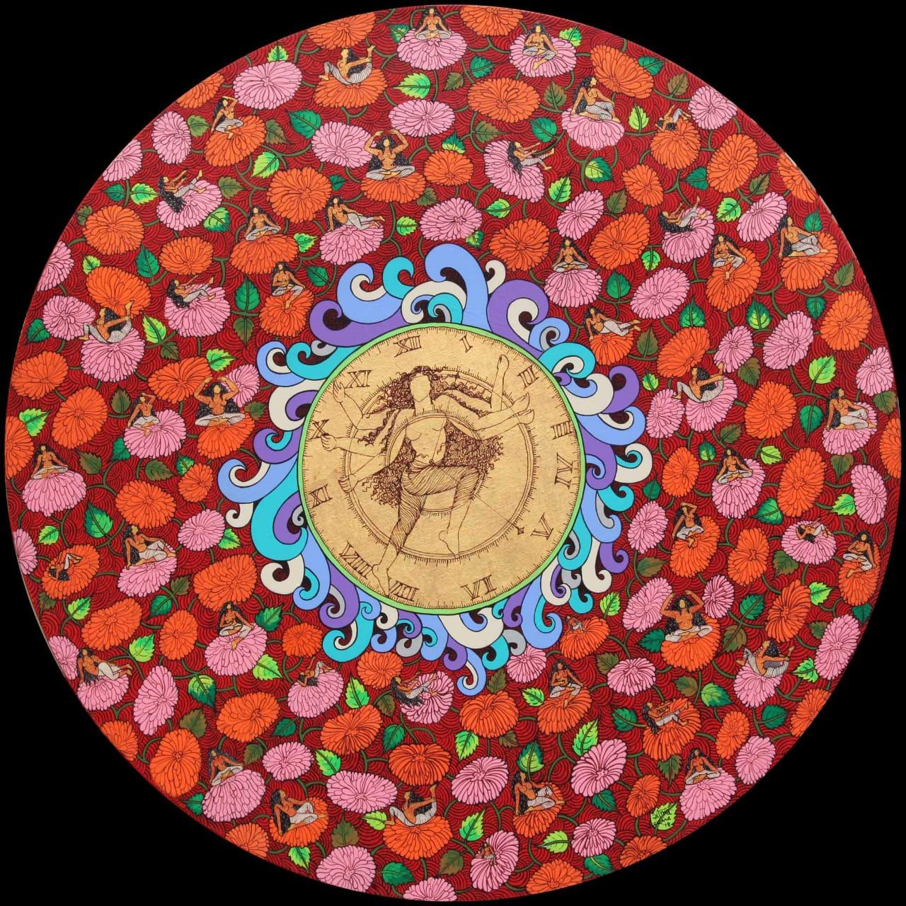 """Yogini, Round, Acrylic, Ink, Gold & Silver leaf, Red, Green, Blue,Pink""""In Stock"""""""
