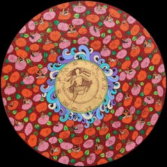 "Yogini, Round, Acrylic, Ink, Gold & Silver leaf, Red, Green, Blue,Pink""In Stock"""
