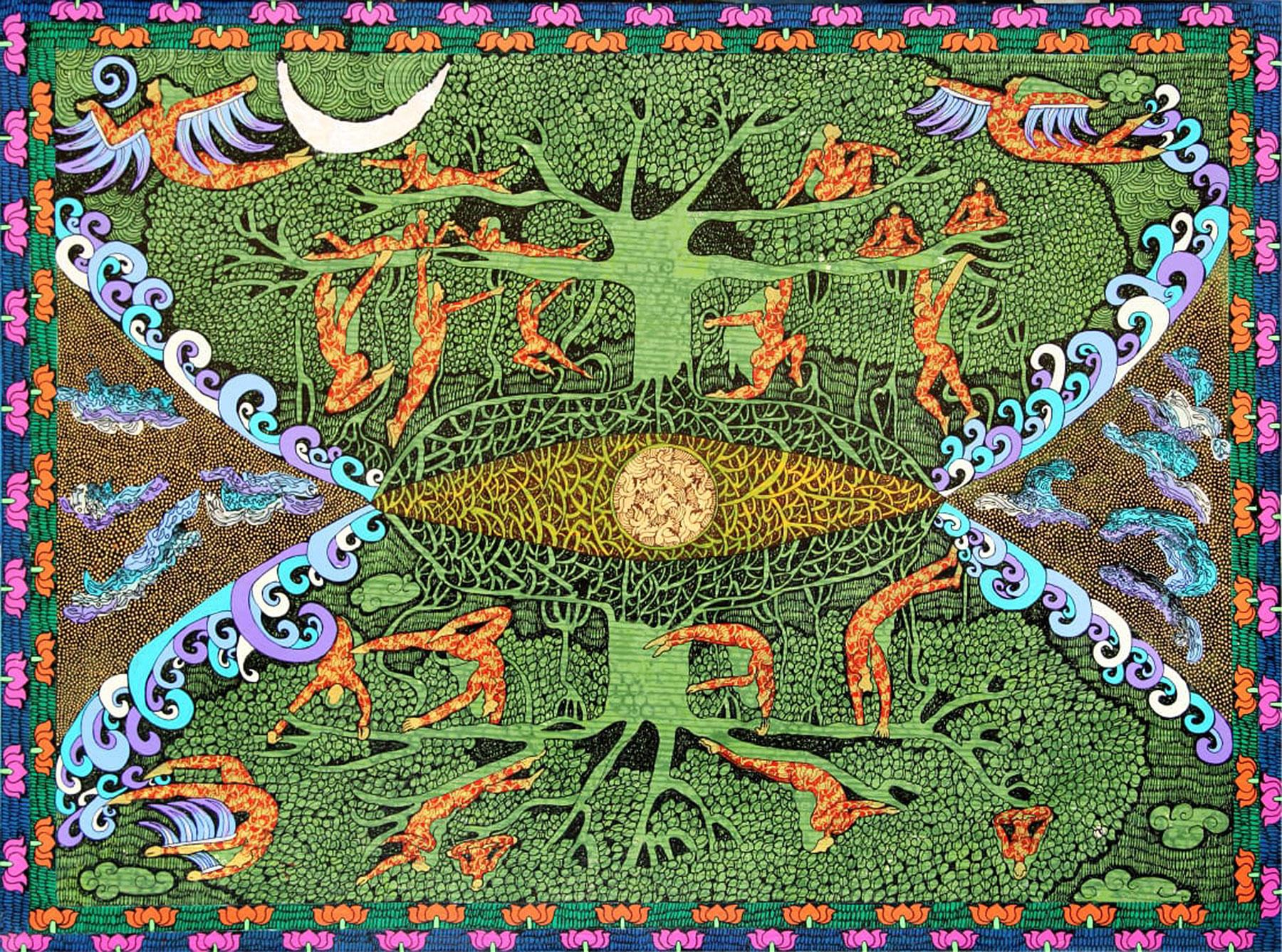 """Tree of Life, Acrylic, Ink on canvas, Gold & Silver leaf, Red, Green """"In Stock"""""""