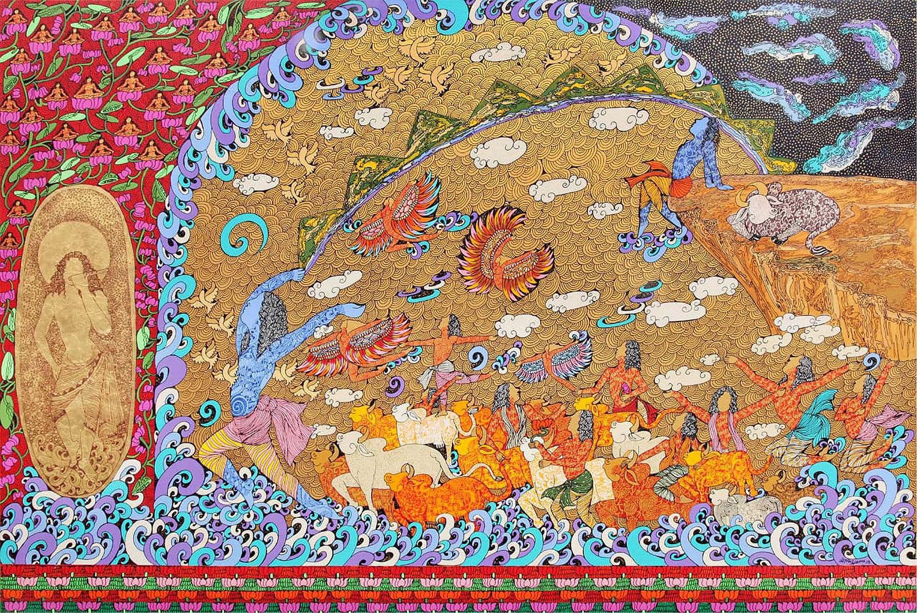"Krishna Krishna Rasa, Acrylic, Ink, Gold,Silver leaf, Red, Yellow,Blue""In Stock"""