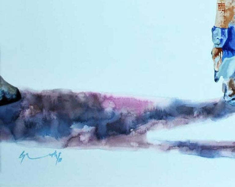 Journey's, Cow, Animal Painting, Watercolor on paper, Red,Blue, Violet
