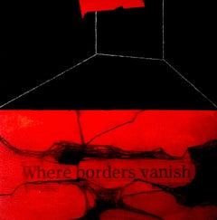 """Where Borders Vanish, Abstract, Mixed Media on Canvas, Red, Black """"In Stock"""""""
