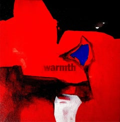 "Warmth, Abstract, Arcylic Oil  on Canvas, Red, Black, Blue, White ""In Stock"""