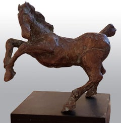 "Galloping Horse, Bronze Brown Green Sculpture "" In Stock"""