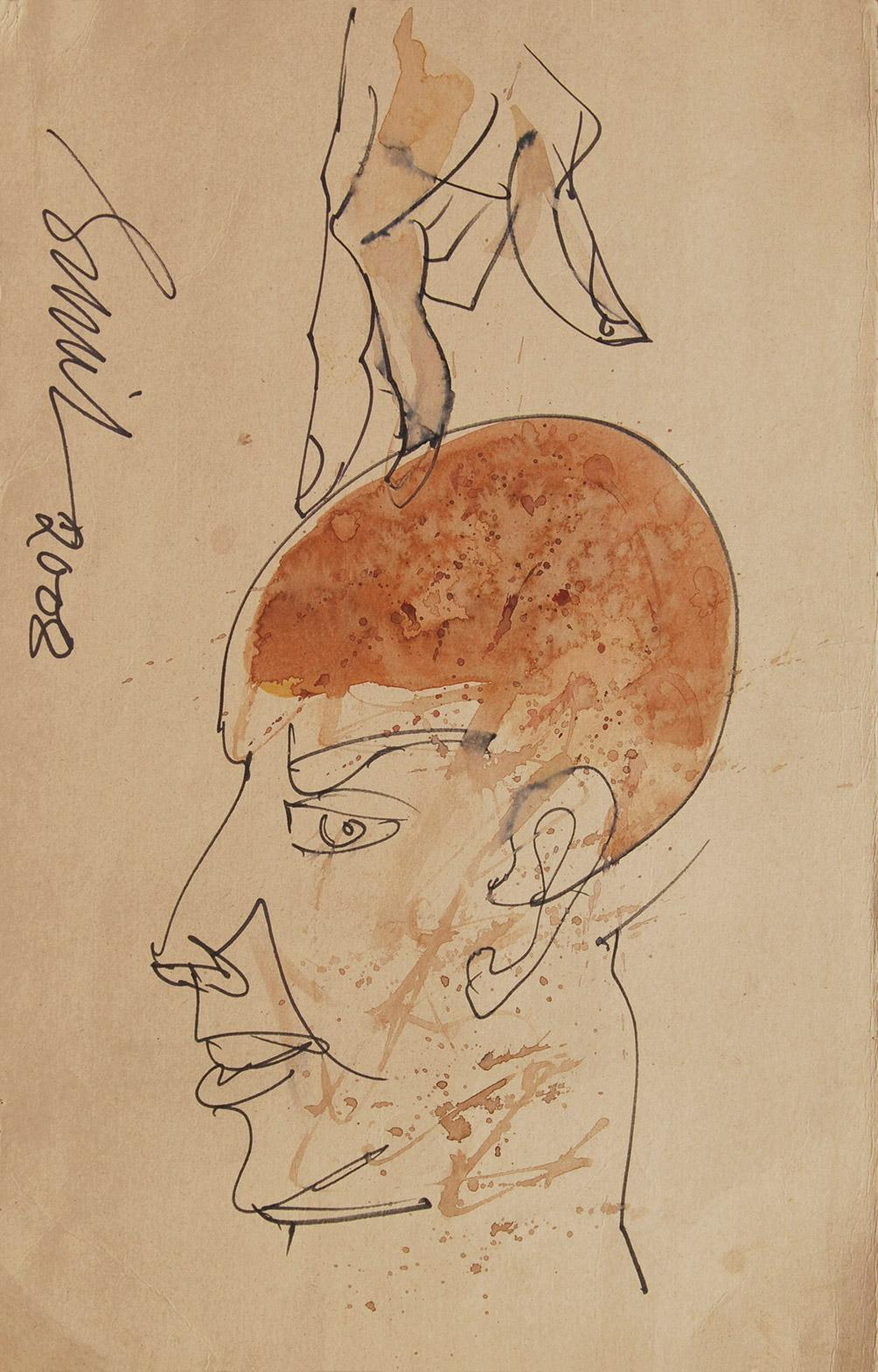 """Head, Ink & Watercolour on Paper by Indian Artist Sunil Das """"In Stock"""""""