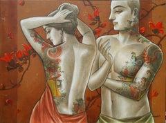 "Sensuality, Couple, Bengal Art ,Figurative, Canvas,Indian Mythology""In Stock"""