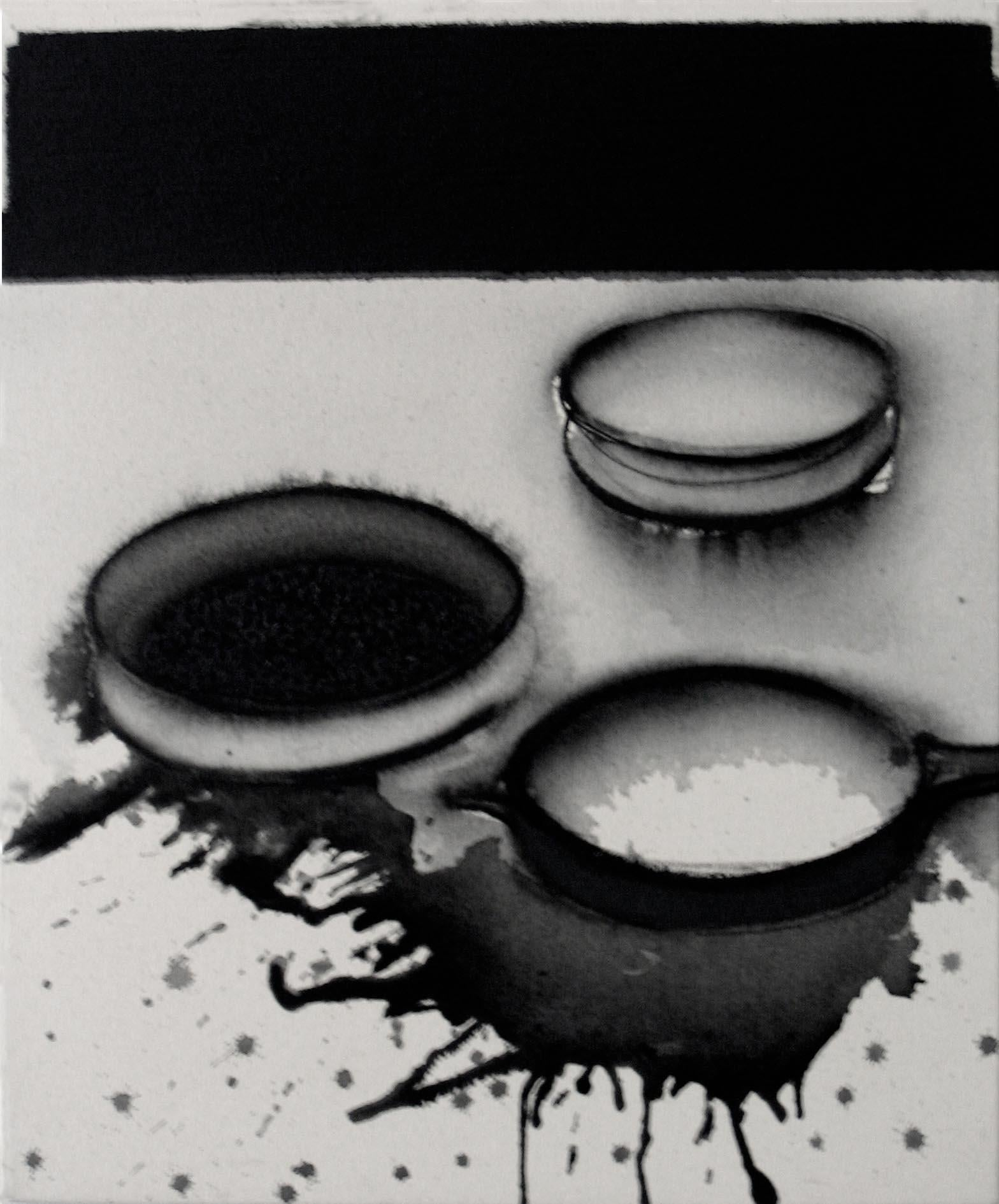 """Pots- Universe, Acrylic & Pigment on Canvas, Black, White,Grey Color """"In Stock"""""""
