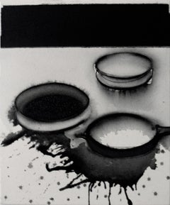 "Pots- Universe, Acrylic & Pigment on Canvas, Black, White,Grey Color ""In Stock"""