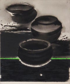 "Pots, Contain Universe Acrylic Pigment on Canvas, Black, Green, Grey ""In Stock"""