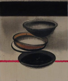 "Pots, Acrylic & Pigment on Canvas, Black, Red, Grey, Brown Colour ""In Stock"""
