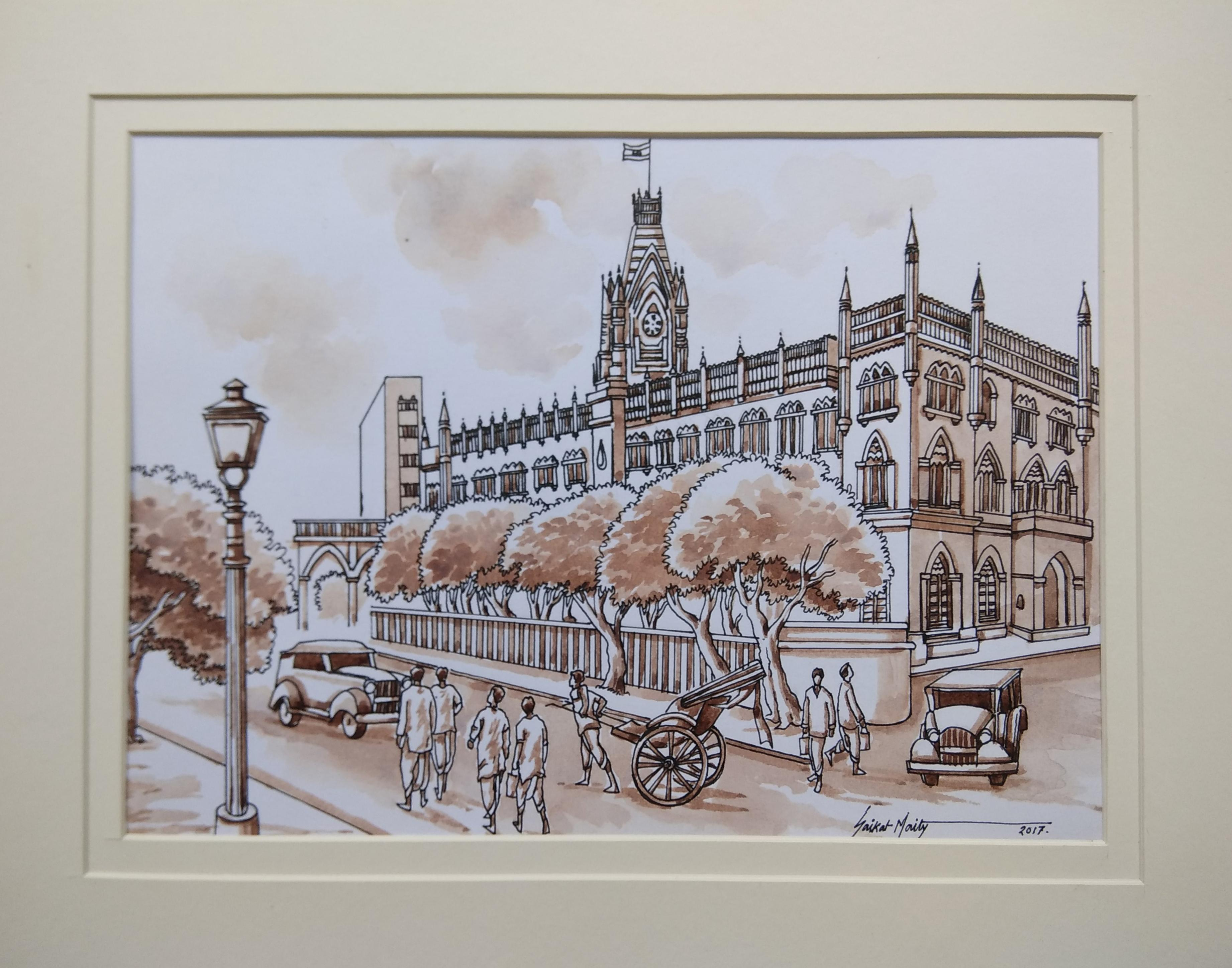 Old kolkata painting heritage city watercolour by indian artist in stock