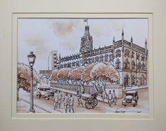"Old Kolkata Painting, Heritage City, Watercolour by Indian Artist ""In Stock"""