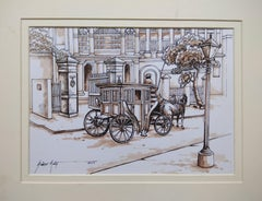 "Old Colonial Kolkata , Horse-Drawn Carriage, Watercolour, Sepia ""In Stock"""