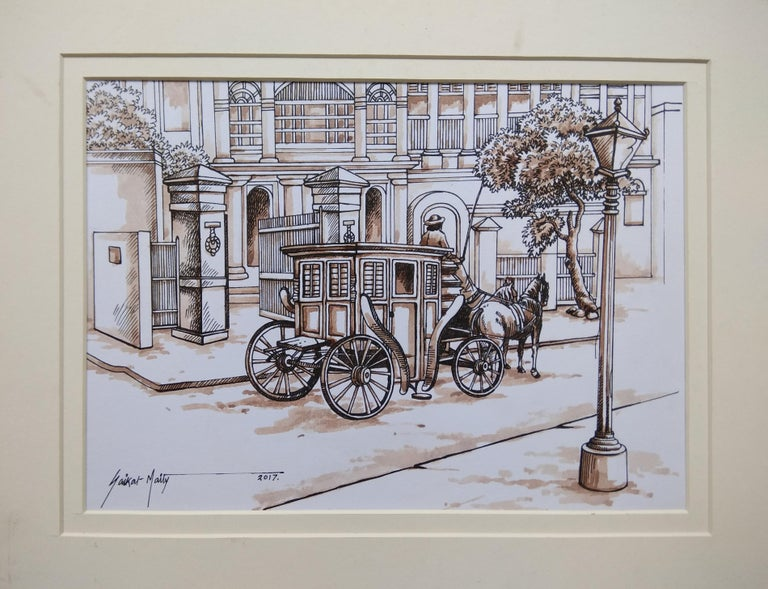 "Saikat Maity Interior Art - Old Colonial Kolkata , Horse-Drawn Carriage, Watercolour, Sepia ""In Stock"""