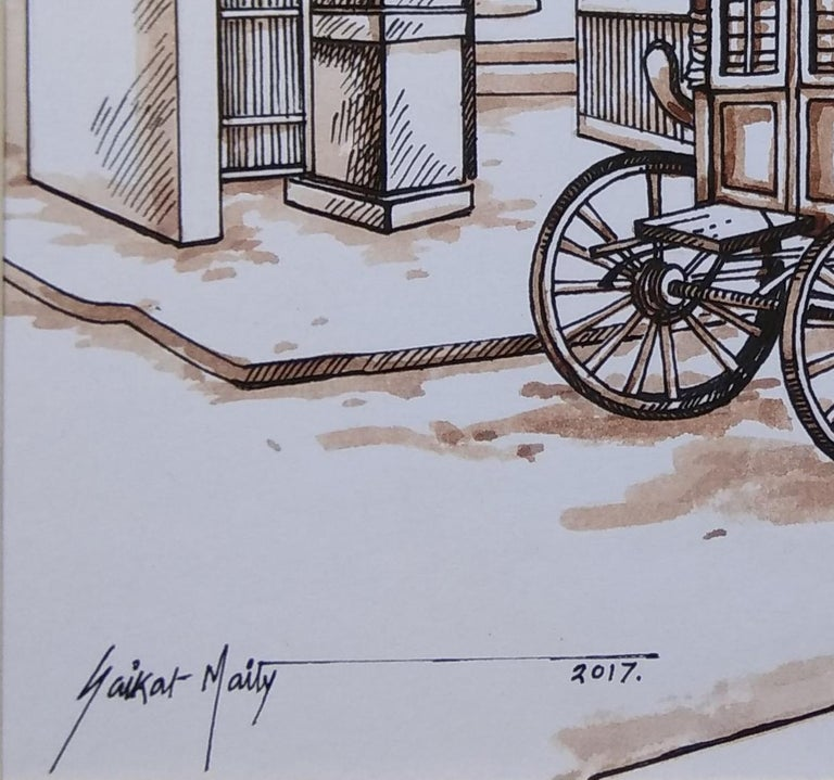 Old Colonial Kolkata , Horse-Drawn Carriage, Watercolour, Sepia